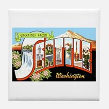 Seattle Washington Greetings Tile Coaster