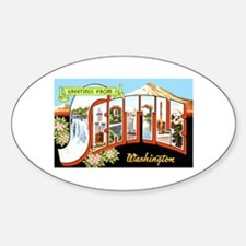 Seattle Washington Greetings Oval Decal