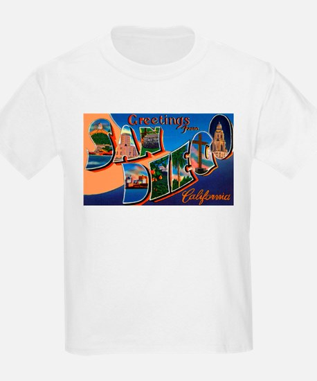 San Diego California Greetings (Front) Kids T-Shir