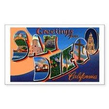 San Diego California Greetings Sticker (Rectangula