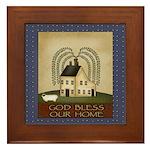 Folkart God Bless Our Home Framed Tile