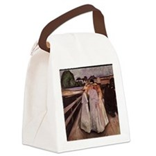 Ladies on a Bridge Canvas Lunch Bag
