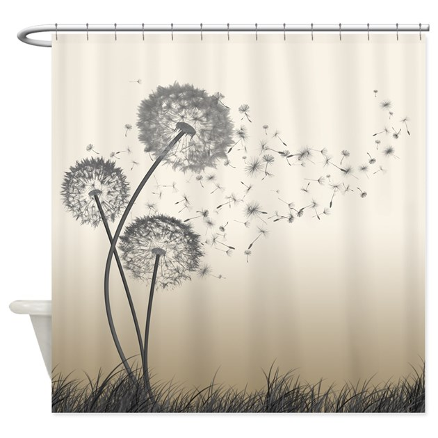 Dandelion wishes shower curtain by thehappymuse for Dandelion flowers and gifts
