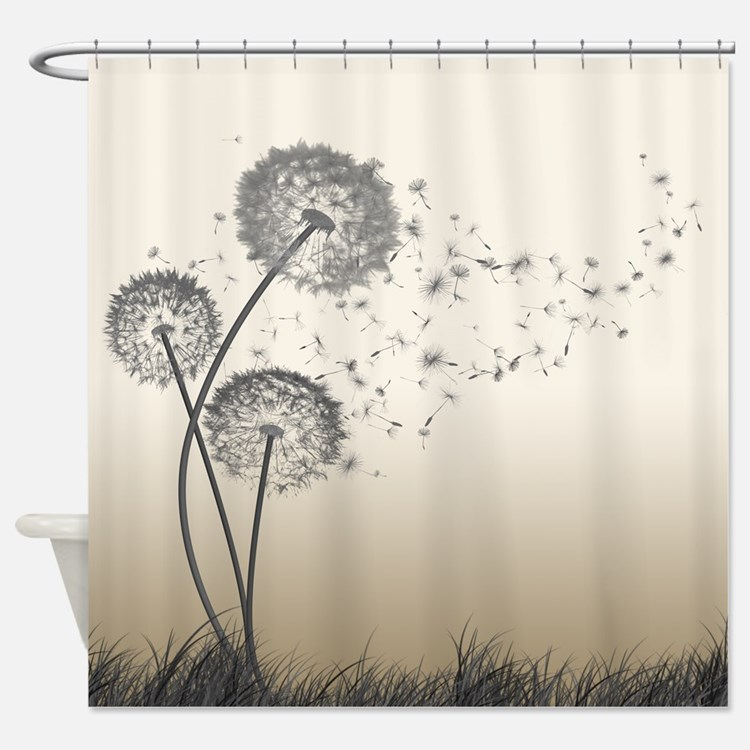 Nature Shower Curtains nature dandelion shower curtains | nature dandelion fabric shower