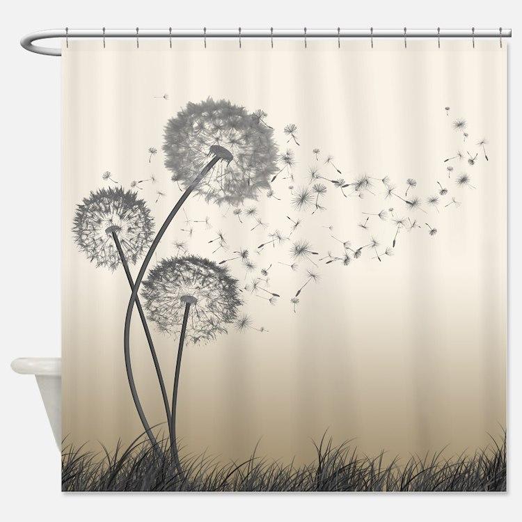 dandelion shower curtains dandelion fabric shower