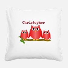 Red Owls Customize Square Canvas Pillow
