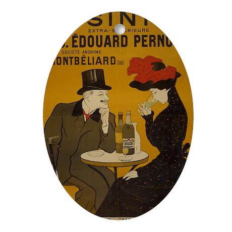"""Vintage Absinthe Poster"" Oval Ornament"