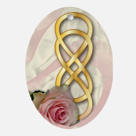 Double Infinity Gold With Pink Rose - 1 Ornament (