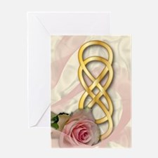 Double Infinity Gold With Pink Rose - 1 Greeting C