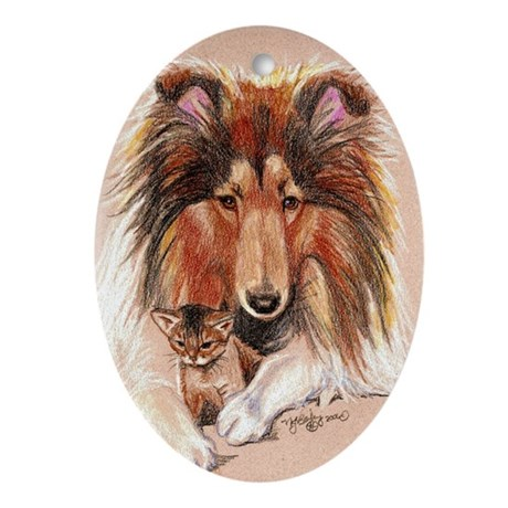 Sheltie With Kitten Oval Ornament