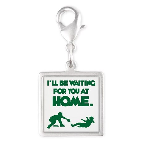 Waiting at Home Silver Square Charm