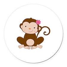 Baby Monkey Round Car Magnet