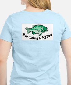 Stop Looking At My Bass Women's Pink T-Shirt