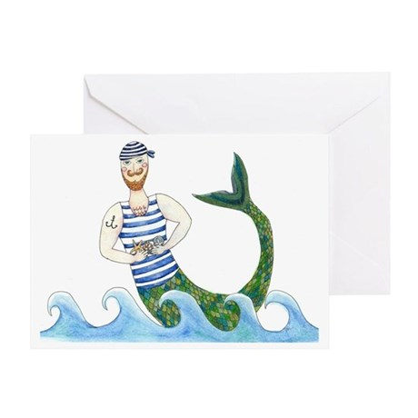 Merman with treasures Greeting Card