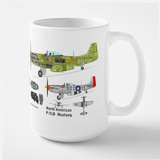 P-51 Mustang Cutaway Large Mug