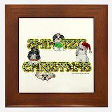 Shih Tzu Christmas Candy Cane Framed Tile