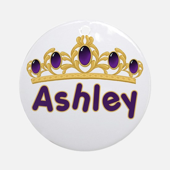 Princess Tiara Ashley Personalized Ornament (Round