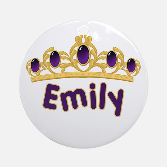 Princess Tiara Emily Personalized Ornament (Round)