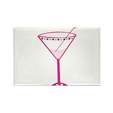 Pink Poker Martini Rectangle Magnet