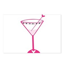 Pink Poker Martini Postcards (Package of 8)