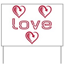 Three Heart Love Yard Sign