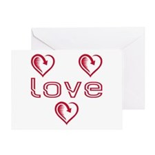 Three Heart Love Greeting Card