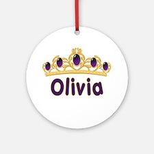 Princess Tiara Olivia Personalized Ornament (Round