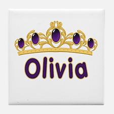 Princess Tiara Olivia Personalized Tile Coaster