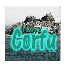 I Love Corfu Tile Coaster