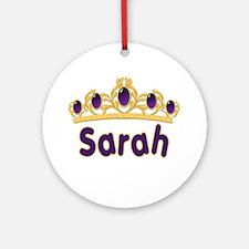 Princess Tiara Sarah Personalized Ornament (Round)
