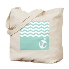 Mint green anchor and chevron Tote Bag