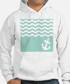 Mint green anchor and chevron Hoodie