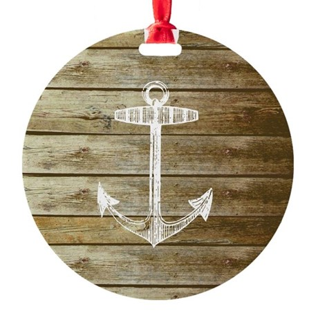 Anchor on Faux wood Round Ornament