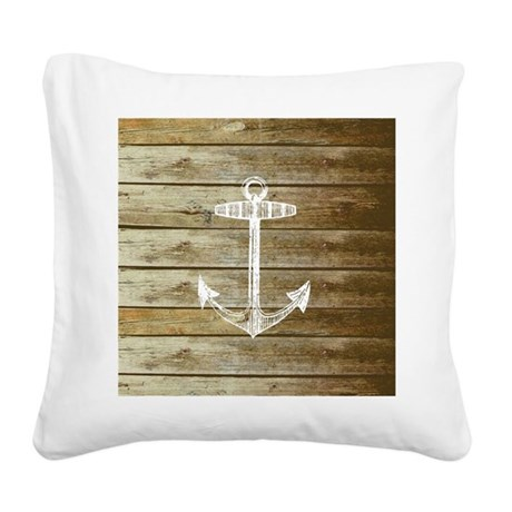 Anchor on Faux wood Square Canvas Pillow