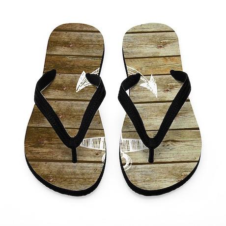 Anchor on Faux wood Flip Flops