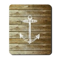 Anchor on Faux wood Mousepad