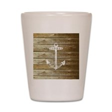 Anchor on Faux wood Shot Glass