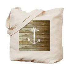 Anchor on Faux wood Tote Bag