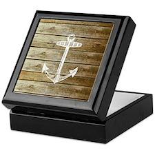 Anchor on Faux wood Keepsake Box