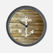 Anchor on Faux wood Wall Clock