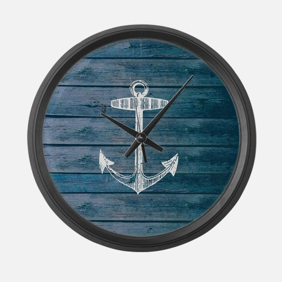 Anchor on Blue faux wood graphic Large Wall Clock