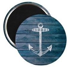 Anchor on Blue faux wood graphic Magnet