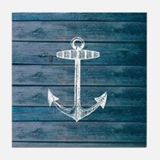 Anchor on Blue faux wood graphic Tile Coaster