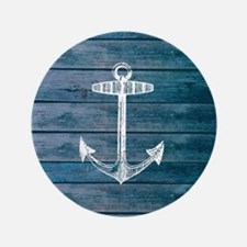 """Anchor on Blue faux wood graphic 3.5"""" Button"""
