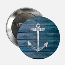 "Anchor on Blue faux wood graphic 2.25"" Button"