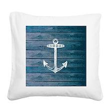 Anchor on Blue faux wood grap Square Canvas Pillow