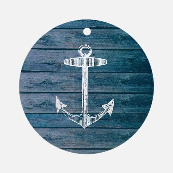 Anchor on Blue faux wood graphic Round Ornament