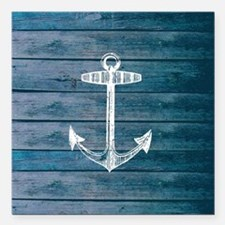 """Anchor on Blue faux wood Square Car Magnet 3"""" x 3"""""""