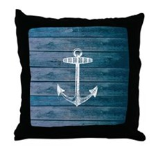 Anchor on Blue faux wood graphic Throw Pillow