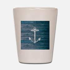 Anchor on Blue faux wood graphic Shot Glass